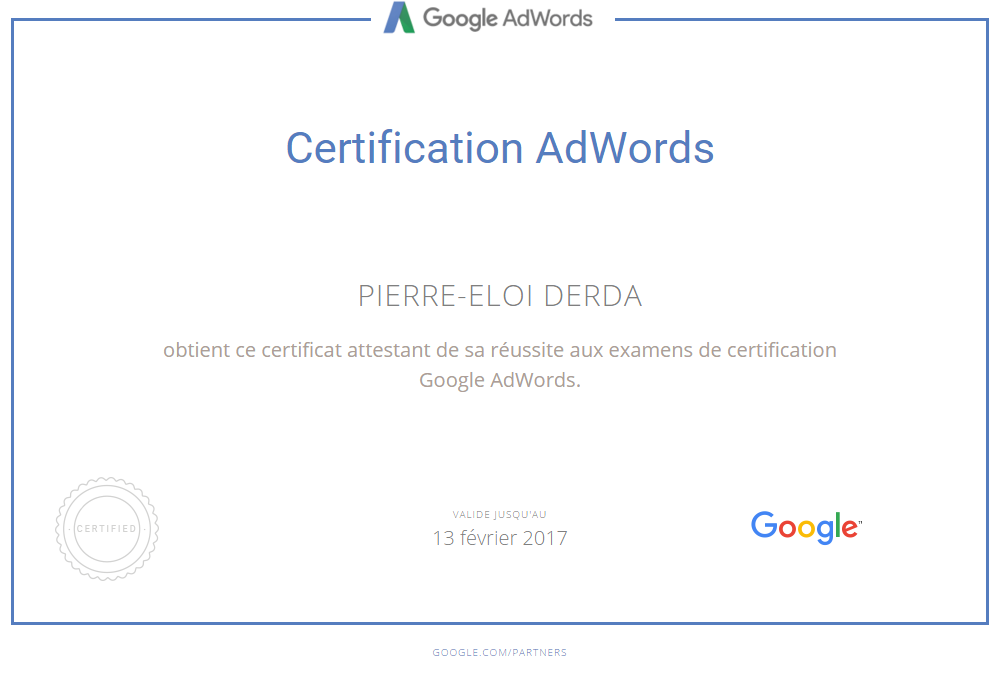 Certification Google Adwords 2016